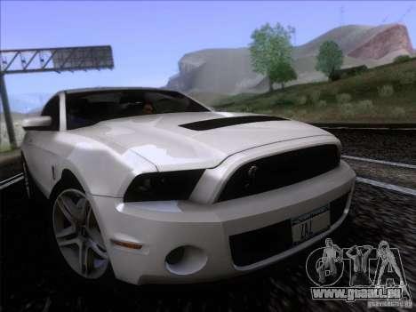 Ford Shelby Mustang GT500 2010 pour GTA San Andreas sur la vue arrière gauche