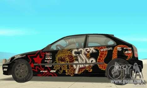 Honda-Superpromotion pour GTA San Andreas sur la vue arrière gauche