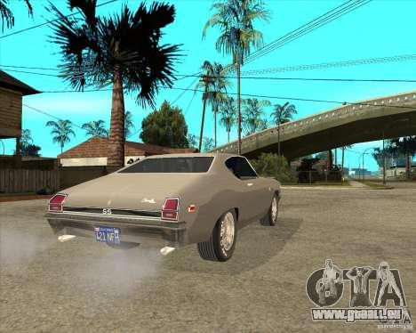 1969 Chevrolet Chevelle pour GTA San Andreas sur la vue arrière gauche
