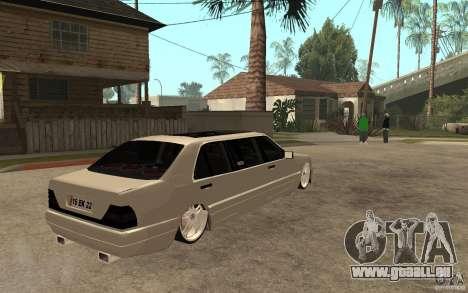 Mercedes-Benz S600 V12 W140 1998 VIP pour GTA San Andreas vue de droite