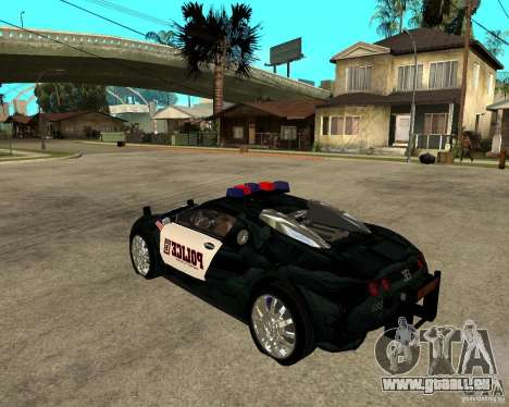 Bugatti Veyron Polizei San Fiero für GTA San Andreas linke Ansicht