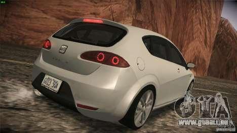 Seat Leon Cupra pour GTA San Andreas vue arrière