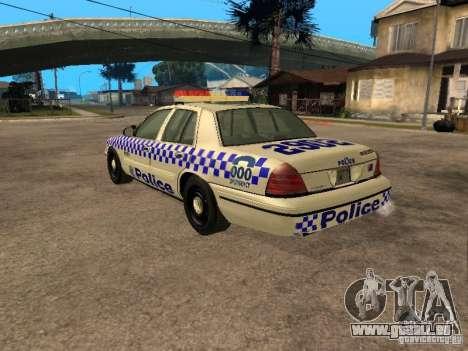 Ford Crown Victoria NSW Police pour GTA San Andreas laissé vue