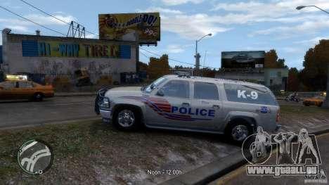 Chevrolet Suburban 2006 Police K9 UNIT pour GTA 4 est une gauche