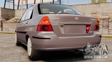 Suzuki Liana GLX 2002 pour GTA 4 Vue arrière de la gauche
