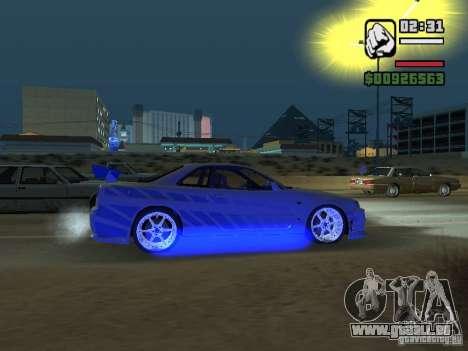 Nissan Skyline GTR34 FNF2 pour GTA San Andreas sur la vue arrière gauche