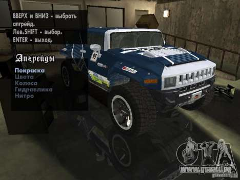 Hummer HX Concept from DiRT 2 pour GTA San Andreas vue intérieure