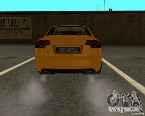 AUDI S4 Sport pour GTA San Andreas sur la vue arrière gauche
