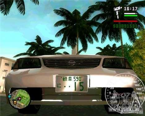 Nissan Sunny pour GTA San Andreas vue de droite