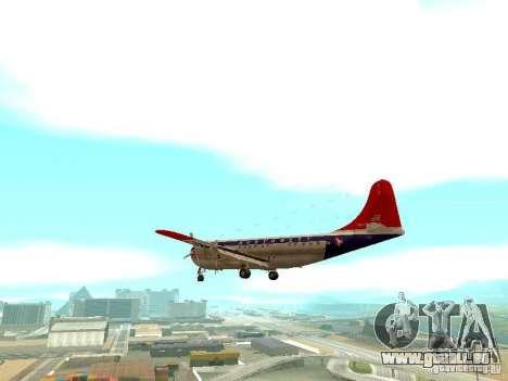 Boeing 377 Stratocruiser pour GTA San Andreas sur la vue arrière gauche
