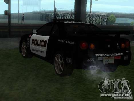 Nissan Skyline R34 Police pour GTA San Andreas laissé vue