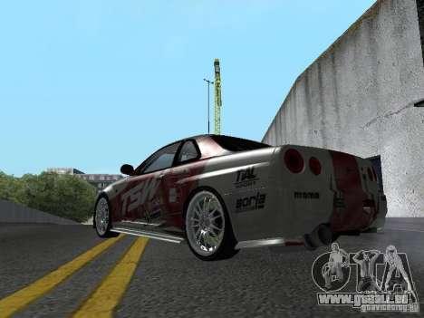 Nissan Skyline R 34 pour GTA San Andreas vue de droite