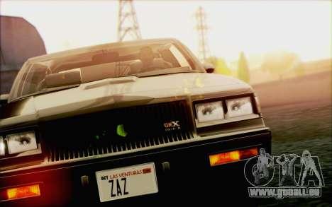 Buick GNX 1987 für GTA San Andreas Innen
