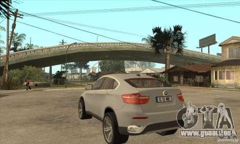 BMW X6 pour GTA San Andreas sur la vue arrière gauche