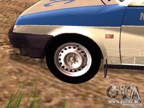 VAZ 2109 Police pour GTA San Andreas sur la vue arrière gauche