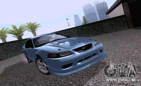 Ford Mustang SVT Cobra 2003 White wheels pour GTA San Andreas laissé vue