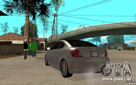 Scion tC - Stock pour GTA San Andreas sur la vue arrière gauche