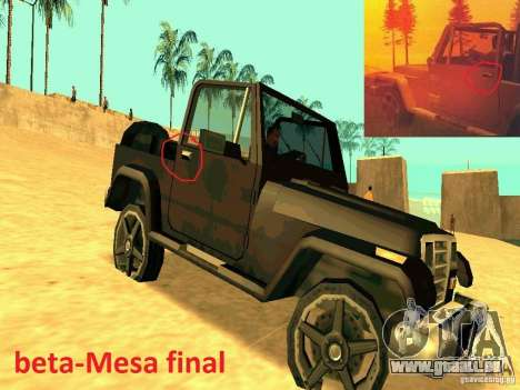 Mesa From Beta Version für GTA San Andreas rechten Ansicht