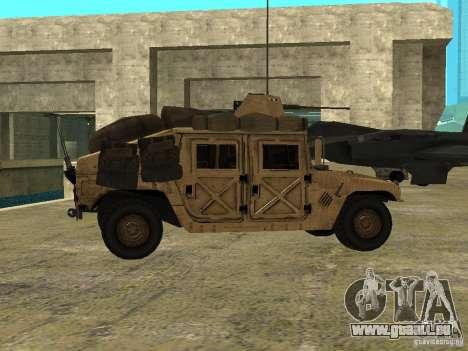 Hummer H1 HMMWV with mounted Cal.50 pour GTA San Andreas laissé vue