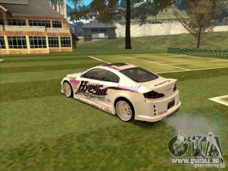 Infiniti G35 Top Secret pour GTA San Andreas sur la vue arrière gauche