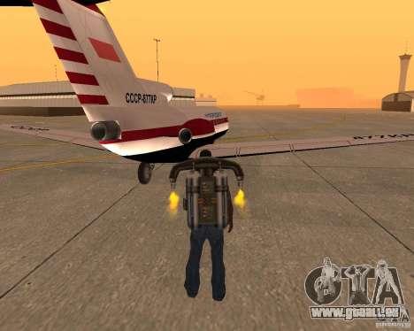 Das Flugzeug Jak-40 für GTA San Andreas zurück linke Ansicht