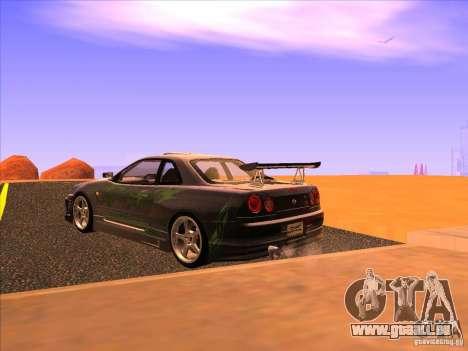 Nissan Skyline R34 Tunable pour GTA San Andreas laissé vue