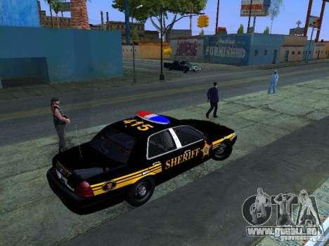 Ford Crown Victoria Erie County Sheriffs Office für GTA San Andreas zurück linke Ansicht