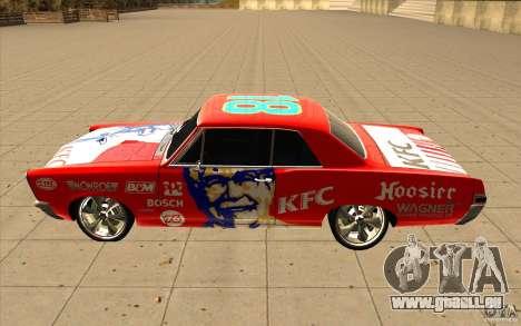 Pontiac GTO 1965 NFS Pro Street mit neue vinyls für GTA San Andreas obere Ansicht