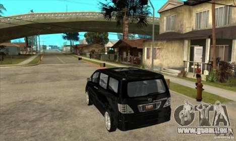 Toyota Alphard Hybrid pour GTA San Andreas sur la vue arrière gauche