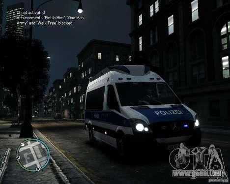 Mercedes Sprinter German Police pour GTA 4 est une gauche