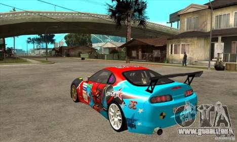 Toyota Supra Evil Empire pour GTA San Andreas sur la vue arrière gauche