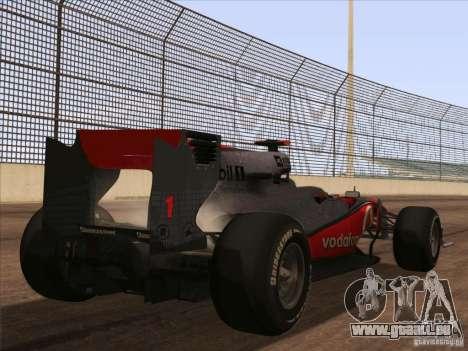 McLaren MP4-25 F1 pour GTA San Andreas laissé vue