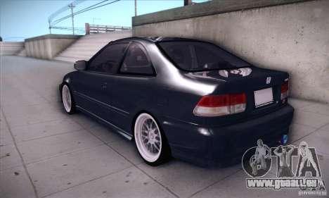 Honda Civic 6Gen pour GTA San Andreas sur la vue arrière gauche