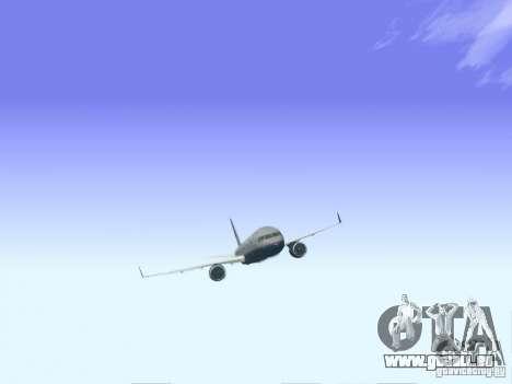 Boeing 757-200 United Airlines für GTA San Andreas zurück linke Ansicht