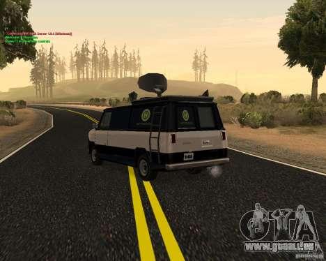 New News Van pour GTA San Andreas sur la vue arrière gauche
