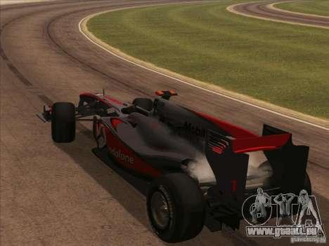 McLaren MP4-25 F1 pour GTA San Andreas vue intérieure