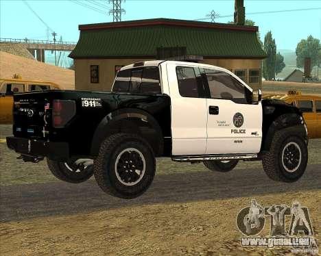 Ford Raptor Police für GTA San Andreas zurück linke Ansicht