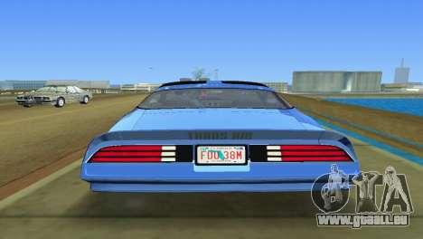 Pontiac Trans Am 77 pour GTA Vice City sur la vue arrière gauche