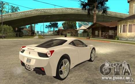 Ferrari F458 pour GTA San Andreas vue de droite