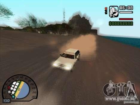 Fumée apparaissent sous les roues, comme dans NF pour GTA San Andreas troisième écran