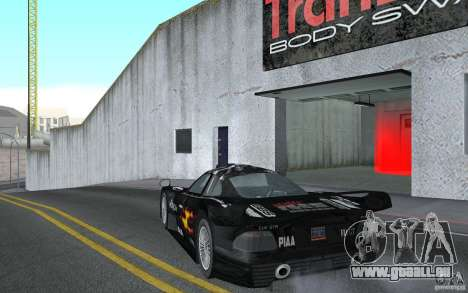 Mercedes-Benz CLK GTR road version (v2.0.0) für GTA San Andreas zurück linke Ansicht