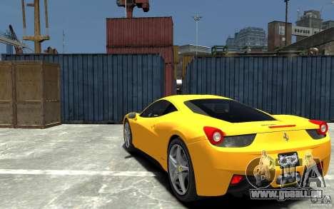 Ferrari 458 Italia 2010 v3.0 pour GTA 4 Vue arrière de la gauche