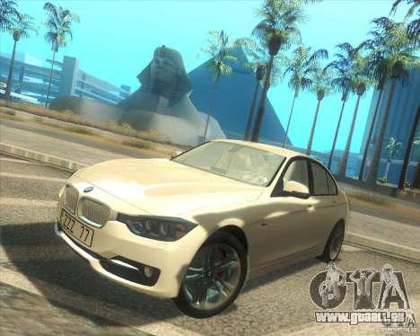BMW 3 Series F30 2012 pour GTA San Andreas laissé vue
