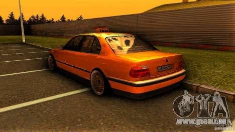 BMW 730i Taxi für GTA San Andreas zurück linke Ansicht