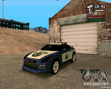 Nissan GTR35 Police Undercover für GTA San Andreas zurück linke Ansicht