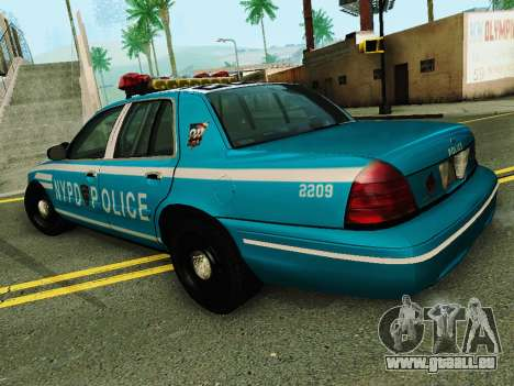 Ford Crown Victoria 2003 NYPD Blue für GTA San Andreas zurück linke Ansicht