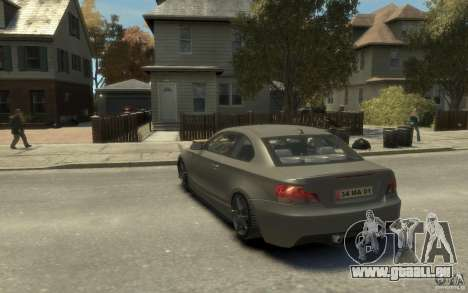 BMW 135i pour GTA 4 Vue arrière de la gauche