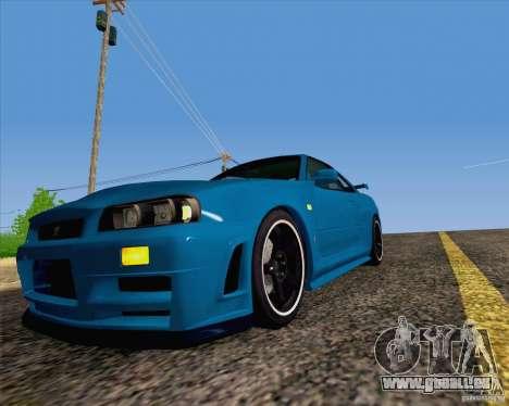 Nissan Skyline R34 Z-Tune V3 pour GTA San Andreas vue arrière