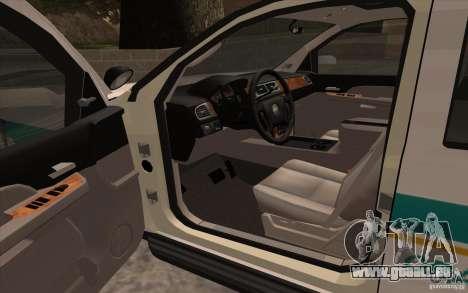 Chevrolet Avalanche Orange County Sheriff für GTA San Andreas rechten Ansicht