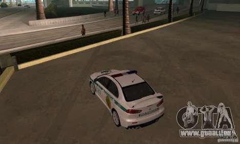 Mitsubishi Lancer Evolution X Polizei von Kasach für GTA San Andreas Innenansicht